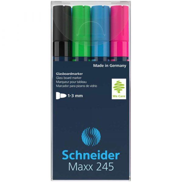 artykuły piśmiennicze 4 alibiuro.pl Marker do szklanych tablic SCHNEIDER Maxx 245 C 2 3mm 4szt. mix kolorów 13
