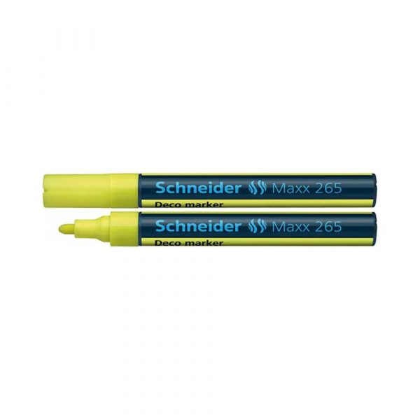 artykuły piśmiennicze 4 alibiuro.pl Marker kredowy SCHNEIDER Maxx 265 Deco okrągły 2 3mm żółty 12
