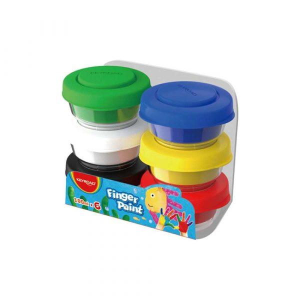 artykuły plastyczne 4 alibiuro.pl Farby do malowania palcami KEYROAD 6x100ml mix kolorów 89
