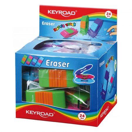 artykuły plastyczne 4 alibiuro.pl Gumka uniwersalna KEYROAD Elastic Touch pakowane na displayu mix kolorów 54