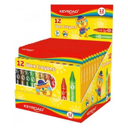 artykuły plastyczne 4 alibiuro.pl Kredki świecowe KEYROAD 12szt. 11mm pakowane na displayu mix kolorów 64