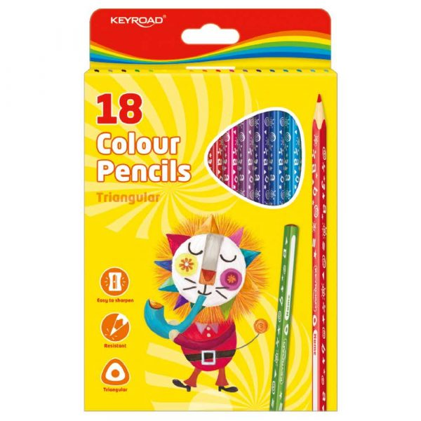 artykuły plastyczne 4 alibiuro.pl Kredki ołówkowe KEYROAD trójkątne 18szt. mix kolorów 33