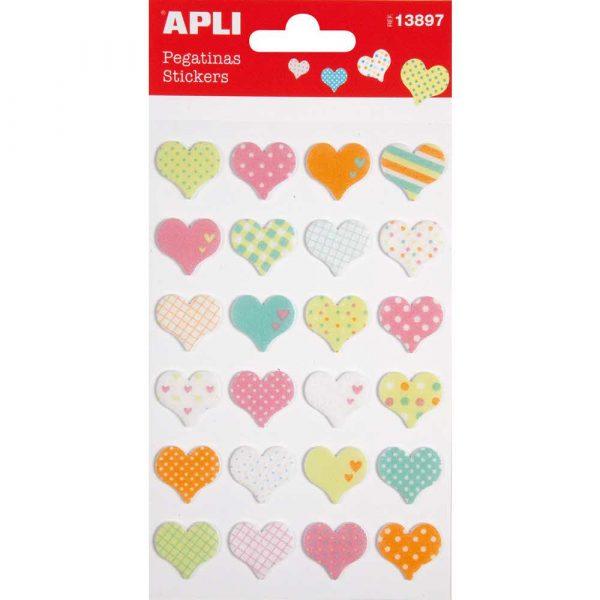 artykuły plastyczne 4 alibiuro.pl Naklejki APLI Hearts z filcu mix kolorów 58