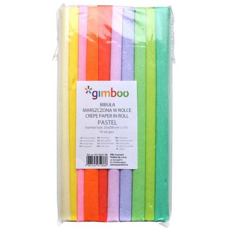 artykuły szkolne 4 alibiuro.pl Bibuła marszczona GIMBOO Pastel w rolce 25x200cm 10szt. mix kolorów 8