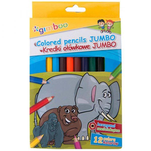 artykuły szkolne 4 alibiuro.pl Kredki ołówkowe GIMBOO Jumbo sześciokątne 12szt. mix kolorów 81