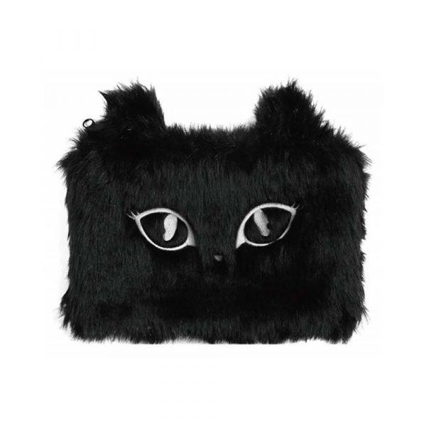 artykuły szkolne 4 alibiuro.pl Piórnik saszetka MEMORIS Fluffy Cat włochata na suwak czarna 28