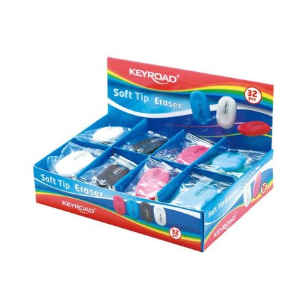 artykuły techniczne 4 alibiuro.pl Gumka uniwersalna KEYROAD Soft Tip pakowane na displayu mix kolorów 83