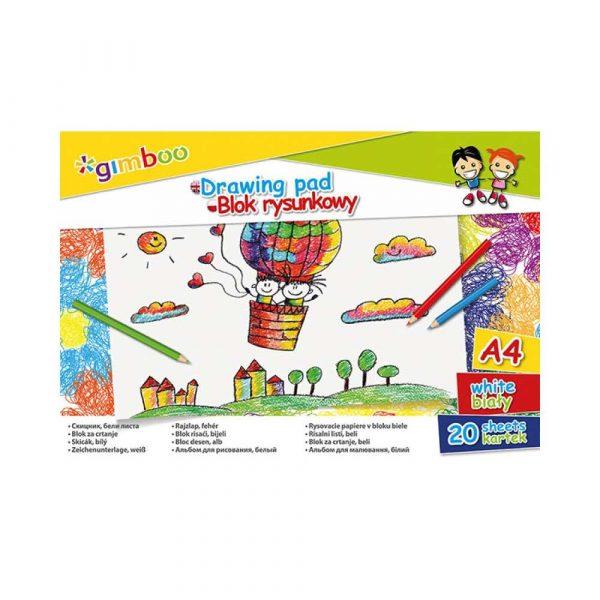 blok rysunkowy kolorowy 4 alibiuro.pl Blok rysunkowy GIMBOO A4 20 kart. 70gsm biały 94