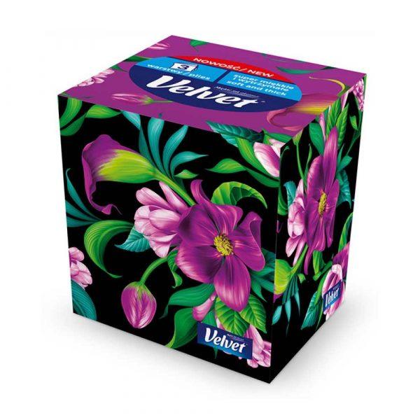 chusteczki higieniczne 4 alibiuro.pl Chusteczki kosmetyczne celulozowe VELVET Cube Style 3 warstwowe 60 listków biały 68