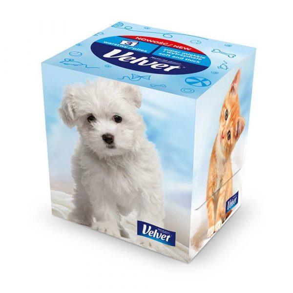 chusteczki higieniczne 4 alibiuro.pl Chusteczki kosmetyczne celulozowe VELVET Cube Style 3 warstwowe 60 listków biały 80