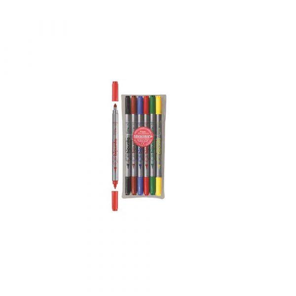 cienkopis 1 alibiuro.pl Pisaki DOUBLE POINT BIPUNTA dwustronne etui 6 kolorów Fibracolor 46