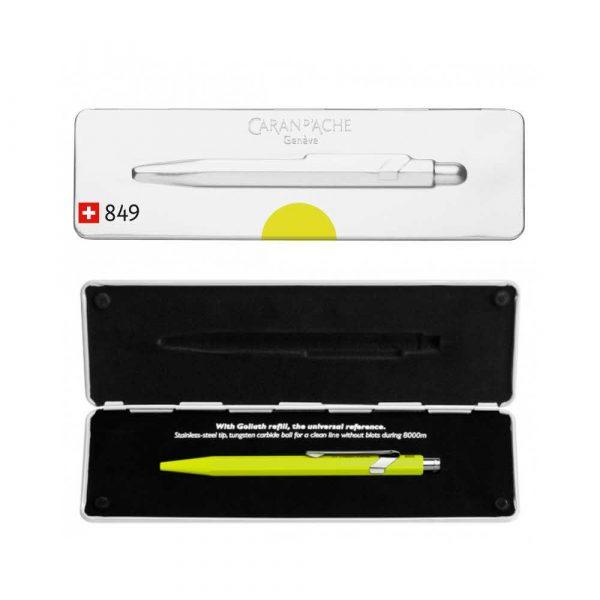 długopisy żelowe 4 alibiuro.pl Długopis CARAN D Inch ACHE 849 Pop Line Fluo M w pudełku żółty 96