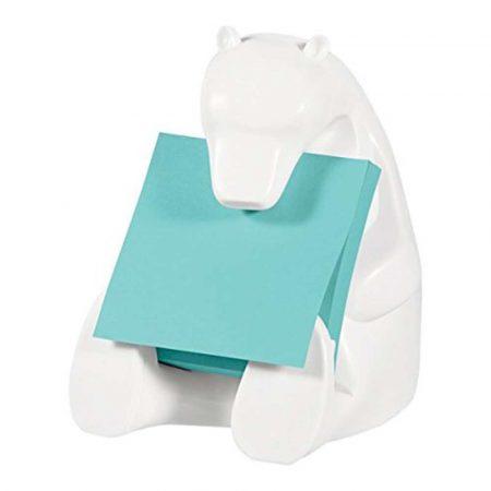 dyspenser do taśmy 4 alibiuro.pl Podajnik do bloczków samoprzylepnych POST IT Miś Bear 330 biały w zestawie 1 bloczek Super Sticky Z Notes 58
