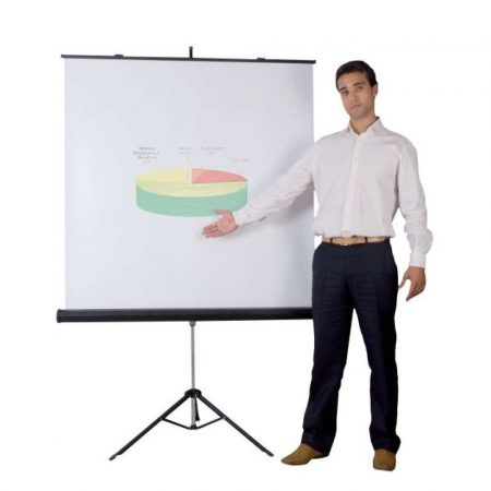 ekran projekcyjny 4 alibiuro.pl Ekran projekcyjny BI OFFICE na trójnogu 1520x1520mm biały 18
