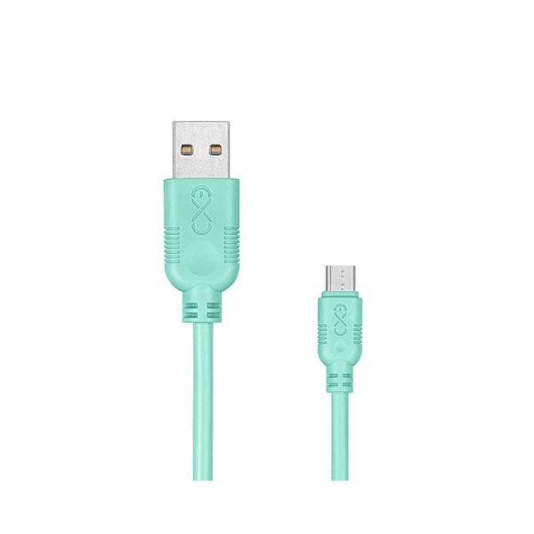 kabel zasilający 4 alibiuro.pl Uniwersalny kabel Micro USB EXC Whippy 2m miętowy 41