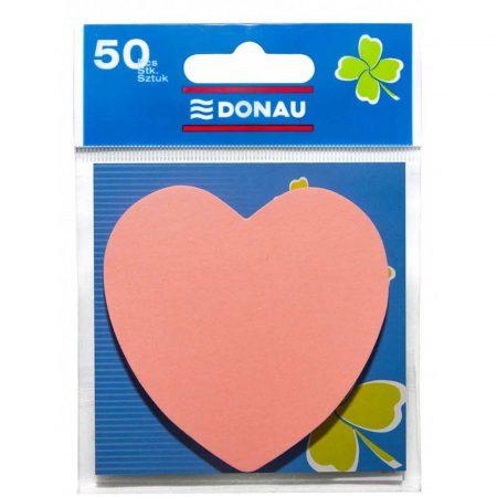 karteczki samoprzylepne 4 alibiuro.pl Bloczek samoprzylepny DONAU 1x50 kart. serduszko zawieszka jasnoróżowy 94