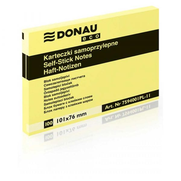 karteczki samoprzylepne 4 alibiuro.pl Bloczek samoprzylepny DONAU Eco 101x76mm 1x100 kart. jasnożółty 7