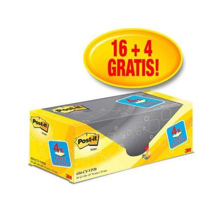 karteczki samoprzylepne 4 alibiuro.pl Bloczek samoprzylepny POST IT 654CY VP20 76x76mm 16 4 x100 kart. żółte 4 bloczki GRATIS 7