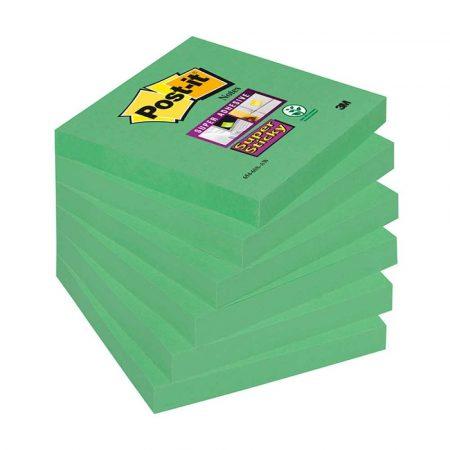 karteczki samoprzylepne 4 alibiuro.pl Bloczek samoprzylepny POST IT Super Sticky 654 6SS AW 76x76mm 1x90 kartek zielony 16