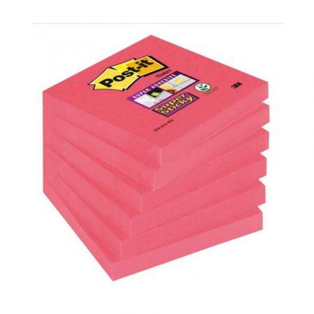 karteczki samoprzylepne 4 alibiuro.pl Bloczek samoprzylepny POST IT Super Sticky 654 6SS PO 76x76mm 1x90 kartek różowy 12