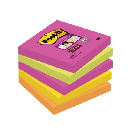karteczki samoprzylepne 4 alibiuro.pl Bloczek samoprzylepny POST IT Super Sticky 654S N 76x76mm 5x90 kartek neonowe 80