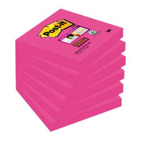 karteczki samoprzylepne 4 alibiuro.pl Bloczek samoprzylepny POST IT Super sticky 654 6SS PNK 76x76mm 1x90 kart. fuksja 26