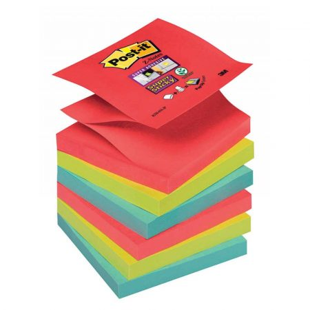 karteczki samoprzylepne 4 alibiuro.pl Bloczek samoprzylepny POST IT Super sticky Z Notes R330 6SS JP 76x76mm 6x90 kart. paleta Bora Bora 40