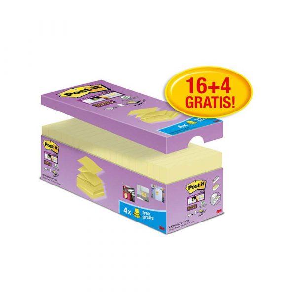 karteczki samoprzylepne 4 alibiuro.pl Bloczek samoprzylepny POST IT Super sticky Z Notes R330 SSCY VP20 76x76mm 16x90 kart. zółty 4 bloczki gratis 47