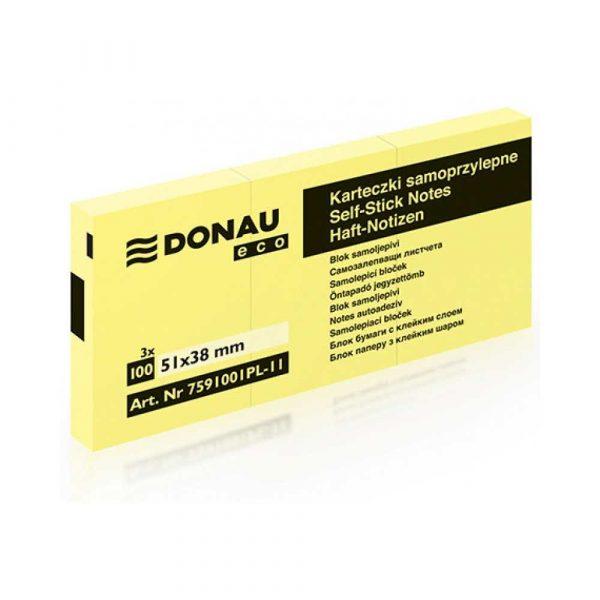 kolorowe karteczki 4 alibiuro.pl Bloczek samoprzylepny DONAU Eco 38x51mm 1x100 kart. jasnożółty 45