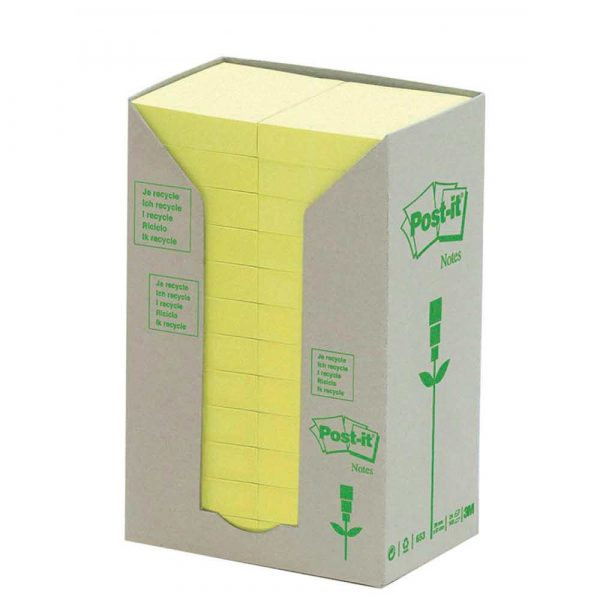 kolorowe karteczki 4 alibiuro.pl Bloczek samoprzylepny ekologiczny POST IT 653 1T 38x51mm 24x100 kart. żółty 17