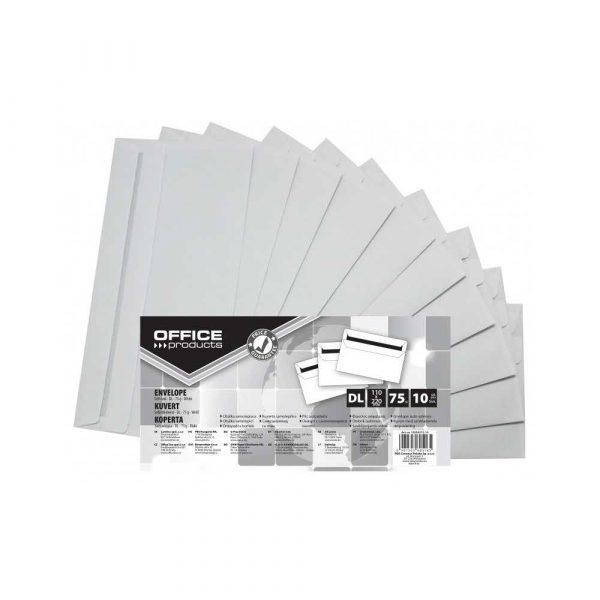 koperta powietrzna 4 alibiuro.pl Koperty samoklejące OFFICE PRODUCTS SK DL 110x220mm 75gsm 10szt. białe 45