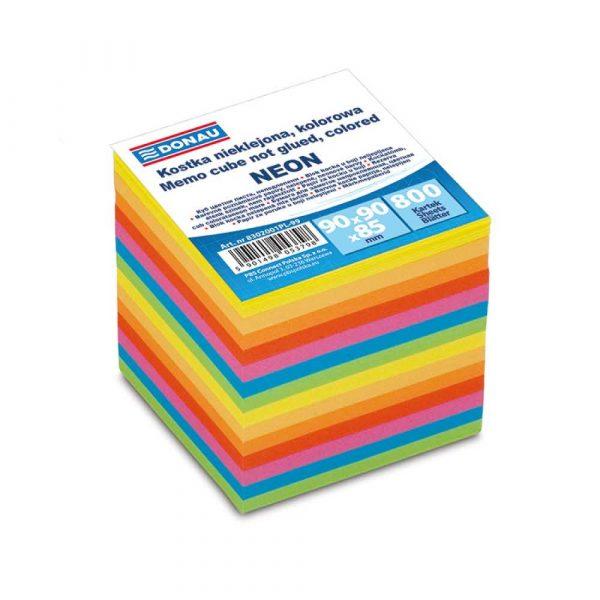 kostka nieklejona 4 alibiuro.pl Kostka DONAU nieklejona 90x90x90mm ok. 800 kart. neon mix kolorów 95