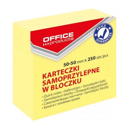 kostki papierowe 4 alibiuro.pl Mini kostka samoprzylepna OFFICE PRODUCTS 50x50mm 1x250 kart. pastel jasnożółta 89