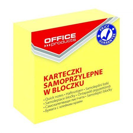 kostki papierowe 4 alibiuro.pl Mini kostka samoprzylepna OFFICE PRODUCTS 50x50mm 1x400 kart. pastel jasnożółta 26
