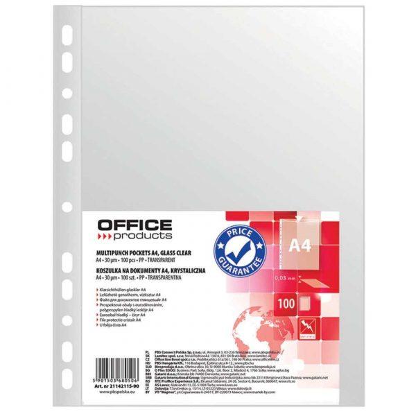 koszulki z klapką 4 alibiuro.pl Koszulki na dokumenty OFFICE PRODUCTS PP A4 krystal 30mikr. 100szt. 96