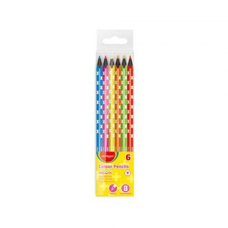 kredki świecowe 4 alibiuro.pl Kredki ołówkowe KEYROAD trójkątne czarne drewno neon 6szt. zawieszka mix kolorów 33