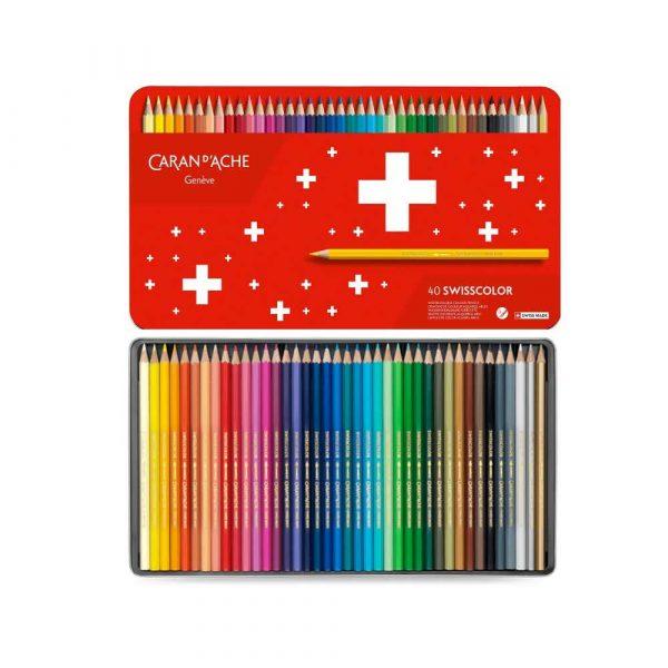 kredki 4 alibiuro.pl Kredki CARAN D Inch ACHE Swisscolor Aquarelle z efektrm akwareli sześciokątne 40szt. mix kolorów 39