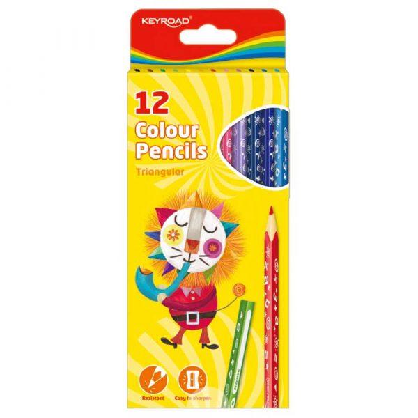 kredki ołówkowe 4 alibiuro.pl Kredki ołówkowe KEYROAD trójkątne 12szt. mix kolorów 71