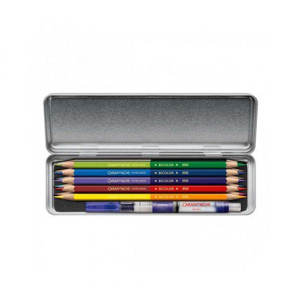 kredki ołówkowe 4 alibiuro.pl Zestaw kredek CARAN D Inch ACHE Prismalo Bicolor sześciokątne dwustronne 10 szt. mix kolorów 67