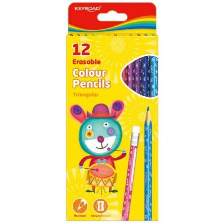 kredki pastelowe 4 alibiuro.pl Kredki ołówkowe KEYROAD trójkątne z gumką 12szt. mix kolorów 74