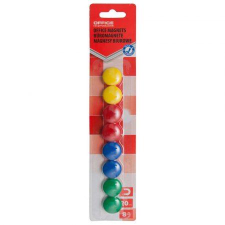 magnesy do tablic szklanych 4 alibiuro.pl Magnesy do tablic OFFICE PRODUCTS okrągłe średnica 20mm 8szt. blister mix kolorów 29