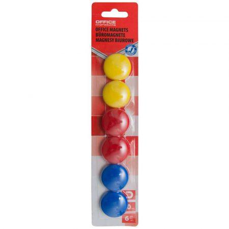magnesy kolorowe 4 alibiuro.pl Magnesy do tablic OFFICE PRODUCTS okrągłe średnica 30mm 6szt. blister mix kolorów 26