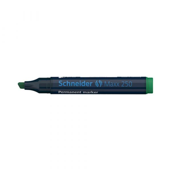marker niezmywalny 4 alibiuro.pl Marker permanentny SCHNEIDER Maxx 250 ścięty 2 7mm zielony 20