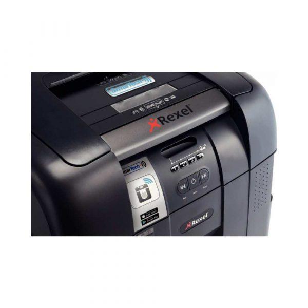niszczarka na ścinki 4 alibiuro.pl Niszczarka automatyczna REXEL SmartTech Auto 600X konfetti P 4 600 kart. 80l karty kredytowe CD czarna 99