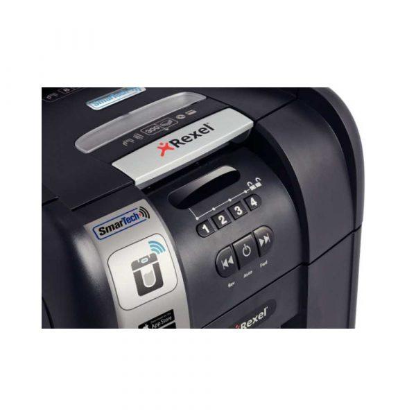 niszczarki 4 alibiuro.pl Niszczarka automatyczna REXEL SmartTech Auto 300X konfetti P 4 300 kart. 40l karty kredytowe CD czarna 81