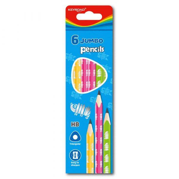 ołówek drewniany 4 alibiuro.pl Ołówek drewniany KEYROAD HB trójkątny jumbo mix kolorów 90