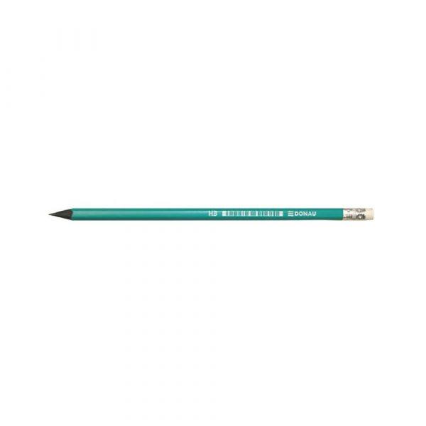 ołówek drewniany 4 alibiuro.pl Ołówek syntetyczny z gumką DONAU HB lakierowany zielony 2