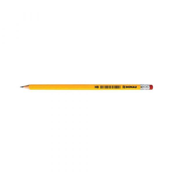 ołówki drewniane 4 alibiuro.pl Ołówek drewniany z gumką DONAU HB lakierowany żółty 82