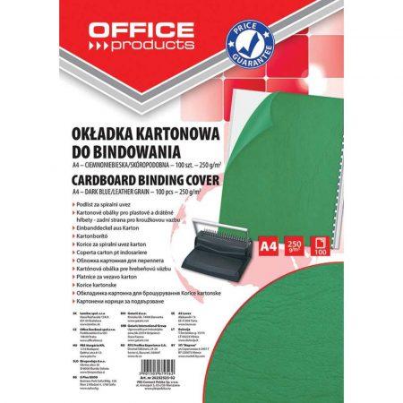 okładka do bindowania 4 alibiuro.pl Okładki do bindowania OFFICE PRODUCTS karton A4 250gsm skóropodobne 100szt. zielone 41