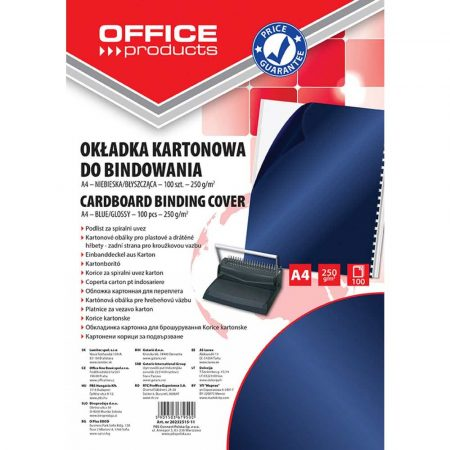 okładka przeźroczysta 4 alibiuro.pl Okładki do bindowania OFFICE PRODUCTS karton A4 250gsm błyszczące 100szt. ciemnoniebieski 30